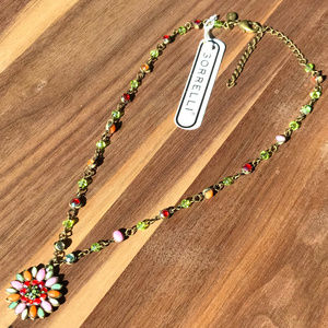 Bella Lia by Sorrelli pink/green flower necklace
